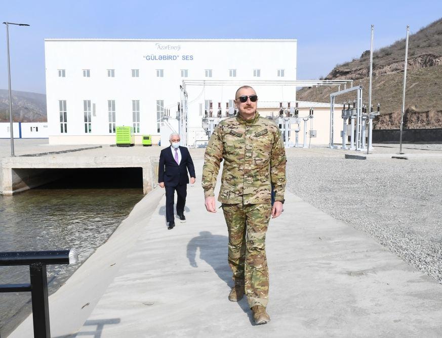 Azerbaijani President Inaugurates Gulabird Hydropower Plant in Lachin District