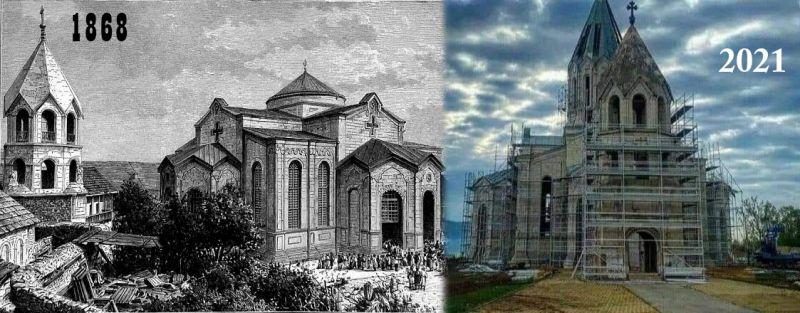 Restoration of a war-damaged church in Shusha