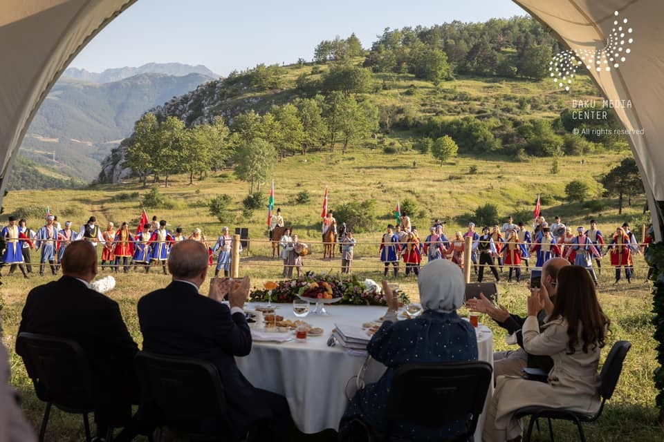 "Azerbaijani, Turkish presidents with spouses watch ""Musical Heritage and Karabakh Horses on Jidir Plain"""