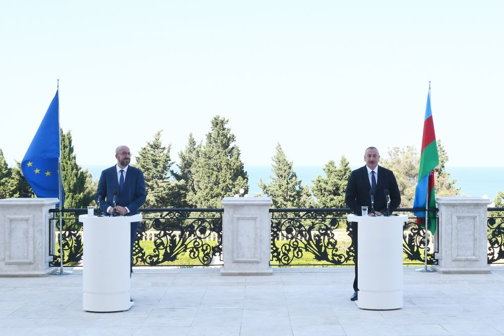 Press-conference with participation of Azerbaijani president and president of European Council held