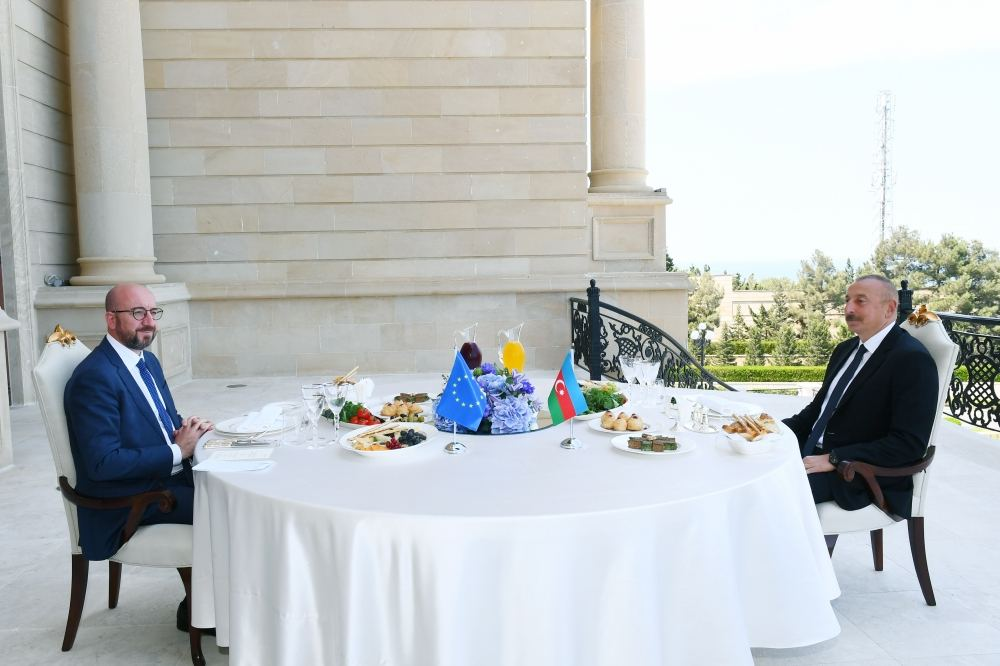 President Ilham Aliyev and President of European Council Charles Michel have joint working dinner