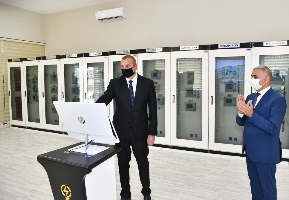 """President Ilham Aliyev attends inauguration of """"Buzovna-1"""" substation in Khazar district"""