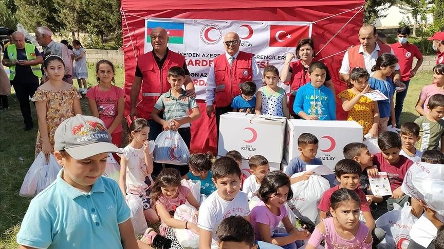 Students in Azerbaijan's Karabakh get gifts from Turkish Red Crescent